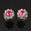 Small Pink Clear Diamante Stud Earrings In Silver Finish - 10mm Diameter