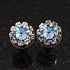 Small Light Blue/Clear Diamante Stud Earrings In Silver Finish - 10mm Diameter
