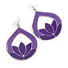 Purple Enamel Teardrop Hoop Earrings In Silver Finish - 8cm Length
