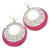 Silver Tone Pink Enamel Cut Out Hoop Earrings - 7.5cm Drop