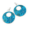 Teal Coloured Enamel Floral Round Drop Earrings In Silver Finish - 7.5cm Length
