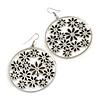Silver Plated Black Enamel Floral Hoop Earrings - 7.5cm Length
