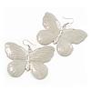 Large Antique White Enamel 'Butterfly' Drop Earrings In Silver Finish - 5cm Length
