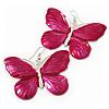 Large Magenta Enamel 'Butterfly' Drop Earrings In Silver Finish - 5cm Length