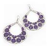 Large Teardrop Purple Enamel Floral Hoop Earrings In Silver Finish - 8cm Length