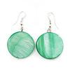Light Green Shell 'Coin' Drop Earrings In Silver Finish - 4cm Length