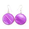 Purple Shell 'Coin' Drop Earrings In Silver Finish - 4cm Length