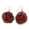 Red/Orange/Hematite Glass Bead Dimensional 'Rose' Drop Earrings In Silver Finish - 4.5cm Drop