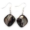 Black Shell Bead Drop Earrings (Silver Tone) - 4cm Length