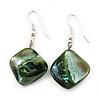 Green Shell Bead Drop Earrings (Silver Tone) - 4cm Length