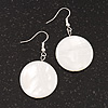 White Shell 'Coin' Drop Earrings In Silver Finish - 45mm Length