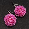 Pink Glass Bead Dimensional 'Rose' Drop Earrings In Silver Finish - 4.5cm Drop