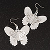 Silver Tone Textured 'Butterfly' Drop Earrings - 5.5cm Length