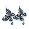 Long Burn Silver Blue Acrylic Bead 'Butterfly' Drop Earrings - 10cm Length