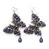 Long Burn Silver Purple Acrylic Bead 'Butterfly' Drop Earrings - 10cm Length