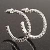 Small Slim Clear Diamante Hoop Earrings In Silver Plating - 2.5cm Diameter
