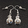 Small Transparent White Glass Bead Drop Earrings In Silver Plating - 3.5cm Length