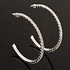 Slim Clear Diamante Hoop Earrings In Silver Plating - 5cm Diameter