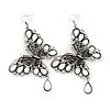 Long Burn Silver White Acrylic Bead 'Butterfly' Drop Earrings - 10cm Length