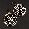 Oversized Hammered Spiral Hoop Earrings In Gold Plating - 10cm Length/ 7.5cm Diameter
