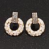 Gold Plated White Enamel Diamante 'Circle' Drop Earrings - 2.5cm Length