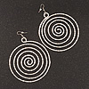 Oversized Hammered Spiral Hoop Earrings In Silver Plating - 10cm Length/ 7.5cm Diameter