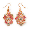 Pink Enamel Clear Crystal Floral Drop Earrings In Gold Plating - 5cm Length