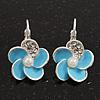 Small Light Blue Enamel Diamante 'Flower' Drop Earrings In Silver Finish - 2.5cm Length