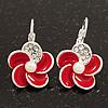 Small Red Enamel Diamante 'Flower' Drop Earrings In Silver Finish - 2.5cm Length