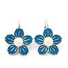 Blue Enamel Faux Pearl 'Daisy' Drop Earrings In Silver Plating - 4cm Diameter