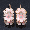 C-Shape White/ Light Pink Enamel 'Floral' Earrings In Gold Plating - 3cm Length