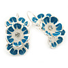 C-Shape White/ Blue Enamel Floral Earrings In Silver Tone With Leverback Closure - 30mm L