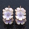 C-Shape White/ Lavender Enamel 'Floral' Earrings In Gold Plating - 3cm Length