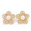 Light Cream Enamel Faux Pearl 'Daisy' Stud Earrings In Gold Plating - 3cm Diameter