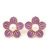 Lilac Enamel Faux Pearl 'Daisy' Stud Earrings In Gold Plating - 3cm Diameter