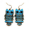 Vintage Blue Enamel 'Owl' Drop Earrings In Antique Gold Metal - 5.5cm Length