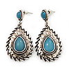 Burn Silver Teardrop Turquoise Coloured Acrylic Bead Drop Earrings - 5cm Length