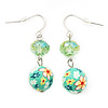 Light Green Crystal Fimo Drop Earrings In Silver Metal - 4cm Length