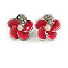 Small Deep Pink Enamel Diamante 'Flower' Stud Earrings In Silver Finish - 15mm Diameter
