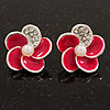 Small Deep Pink Enamel Diamante 'Flower' Stud Earrings In Silver Finish - 15mm Diameter