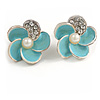Small Light Blue Enamel Diamante 'Flower' Stud Earrings In Silver Finish - 15mm Diameter