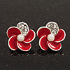 Small Red Enamel Diamante 'Flower' Stud Earrings In Silver Finish - 15mm Diameter