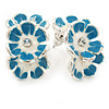 C-Shape White/ Litgh Blue Enamel 'Floral' Stud Earrings In Silver Tone - 25mm L