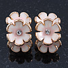 C-Shape White/ Light Pink Enamel 'Floral' Stud Earrings In Gold Plating - 25mm Length