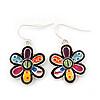 Multicoloured Enamel 'Flower' Drop Earrings In Silver Plating - 3.5cm Length