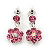Delicate Pink Crystal Flower Drop Earrings In Silver Plating - 1.5cm Length
