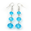 Light Blue Faceted Glass Bead Drop Earring In Silver Plating - 5.5cm Length