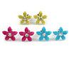 Set of 3 Children's Enamel Daisy Stud Earrings in Light Blue/ Magenta/ Yellow - 13mm Diameter