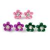 Set of 3 Children's Enamel Daisy Stud Earrings in Light Pink/ Purple/ Green - 12mm D