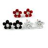 Set of 3 Children's Enamel Daisy Stud Earrings in Black/ Red/ White - 12mm D